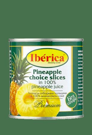 Ананасы отборные кусочками в ананасовом соке, IBERICA, 435 мл, ж/б