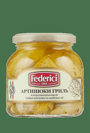 Артишоки гриль в подсолнечном масле, FEDERICI, 280гр, ст/б