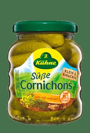 Корнишоны сладкие, KUHNE Cornichons sweet, 180г, ст/б
