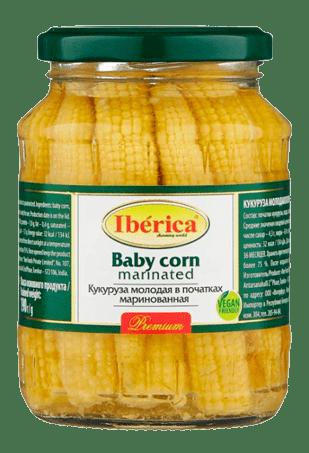Кукуруза молодая в початках маринованная, IBERICA Baby corn marinated, 370 мл