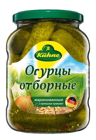 Огурцы отборные, KUHNE Pickled Gherkins, 670 г, ст/б