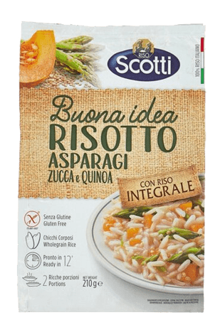 Рис коричневый с киноа, со спаржей и тыквой, Riso Scotti Riso Integrale Asparagi e Zucca con Quinoa, 210 г