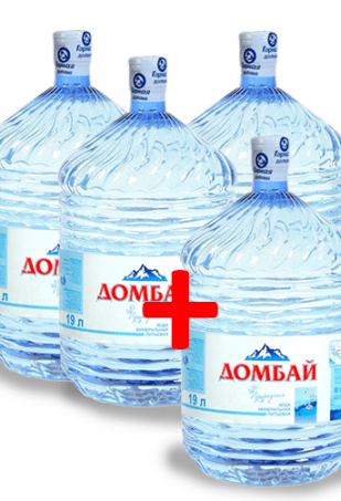 Вода Домбай в одноразовой таре 19л — 4 бутыли