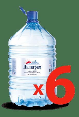 6 бутылей горной воды Пилигрим в одноразовой таре